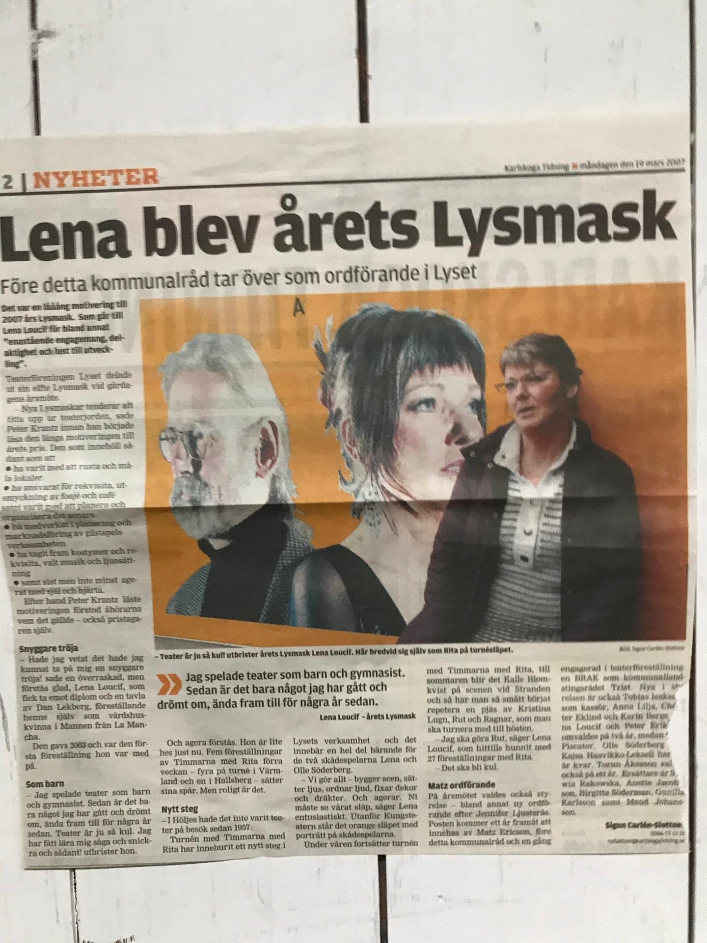 Lysmask Lena Söderberg